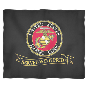 "LIMITED EDITION USMC ""Served With Pride"" Fleece Blanket - 50% OFF WHILE SUPPLIES LAST! - Veteran Tees - 2"