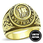 LIMITED EDITION MEN'S GOLD PLATED STAINLESS STEEL UNITED STATES VETERAN Ring - 75% OFF & FREE SHIPPING THIS WEEK ONLY! - Veteran Tees - 1