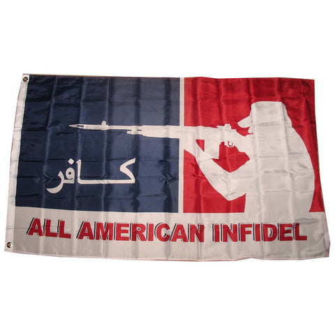 LIMITED EDITION All American Infidel (Red White Blue) Military NRA SuperPoly 3x5 Flag - 70% OFF & FREE Shipping While Supplies Last! - Veteran Tees