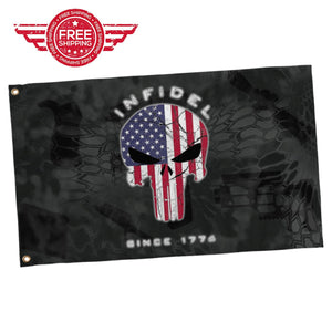LIMITED EDITION 3x5 Exclusive American Flag Punisher Infidel Flag - 50% OFF WHILE SUPPLIES LAST! - Veteran Tees - 1