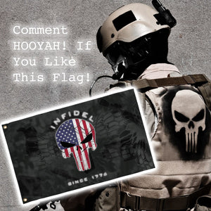 LIMITED EDITION 3x5 Exclusive American Flag Punisher Infidel Flag - 50% OFF WHILE SUPPLIES LAST! - Veteran Tees - 3