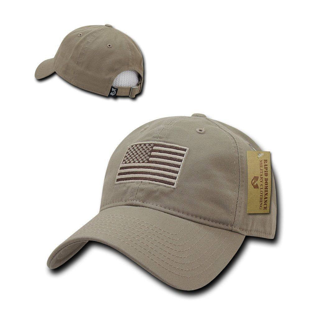 Exclusive Khaki USA American Flag Patch United States America Polo Baseball Hat - Veteran Tees - 1