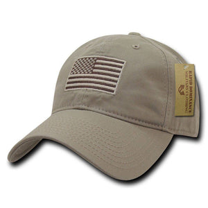 Exclusive Khaki USA American Flag Patch United States America Polo Baseball Hat - Veteran Tees - 2