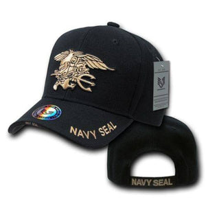 Black United States US Navy Seals Trident Seal Military Baseball Ball Cap - FREE SHIPPING - Veteran Tees