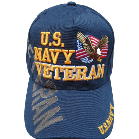 U.S Navy Veteran Cap/Hat W/Flag & Eagle Blue Military Adjustable *Free Shipping* - Veteran Tees - 1
