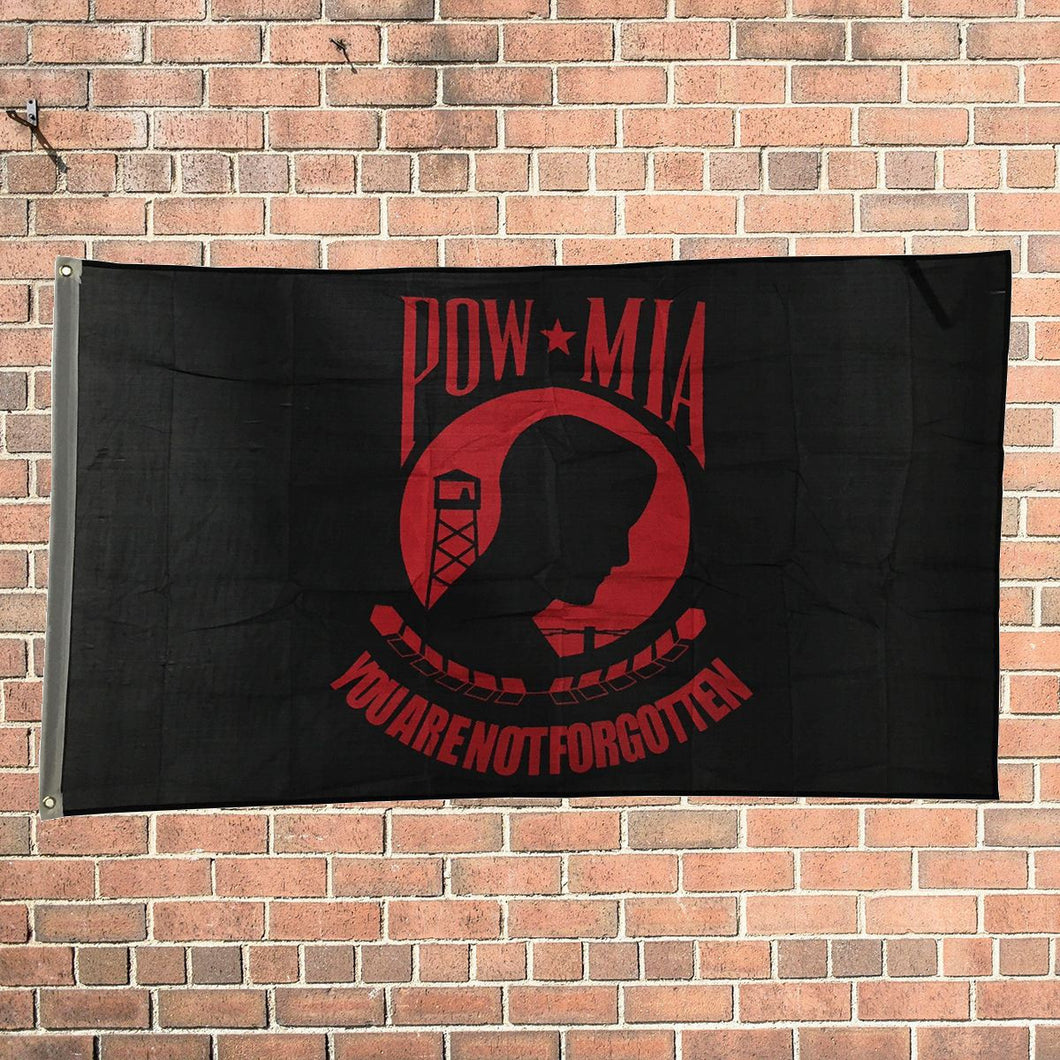 New Design 3'x5' Ft POW MIA You Are Not Forgotten Red Flag Polyester Grommets - FREE SHIPPING - Veteran Tees
