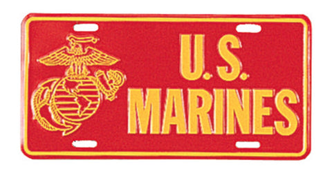LIMITED EDITION RED Marines Aluminum License Plate (Licensed) - 50% OFF WHILE SUPPLIES LAST! - Veteran Tees