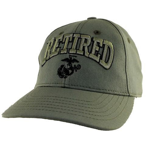 US MARINE RETIRED - U.S.M.C. with Globe Officially Licensed Baseball Cap Hat - Veteran Tees