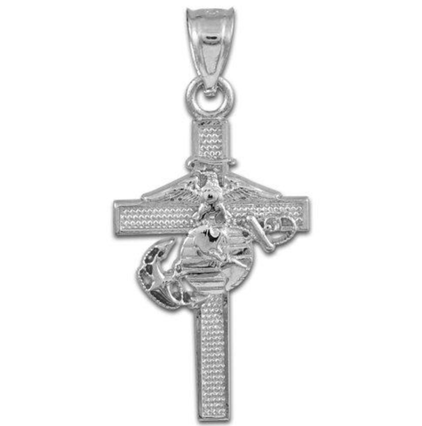 Sterling Silver US Marine Corps Military Cross Pendant