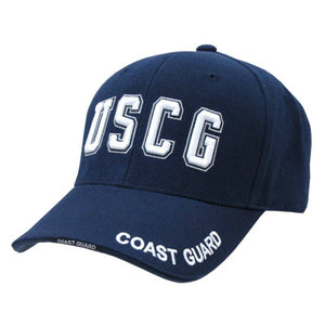 Blue United States US Coast Guard USCG Text Military Baseball Cap - Veteran Tees - 1