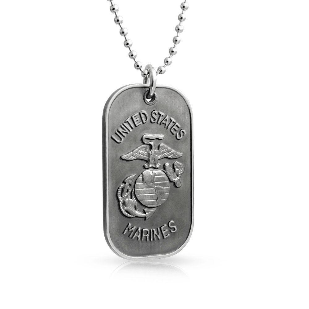 Stainless Steel US Marines Dog Tag Pendant Chain