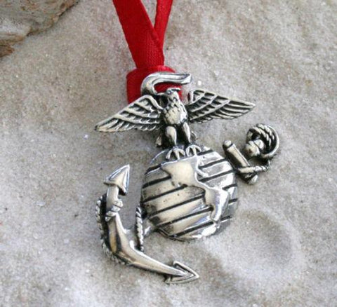 Limited Edition  HANDMADE Pewter Marines Ornament
