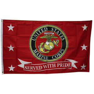 LIMITED EDITION USMC MARINES MARINE CORPS *SERVED WITH PRIDE* FLAG 3'X5' - 50% OFF & FREE SHIPPING WHILE SUPPLIES LAST! - Veteran Tees - 1