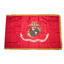 OFFICIALY LICENSED & MADE IN USA 3x5 Embroidered Sewn USMC Double Sided Flag W/ Gold Fringe - 50% OFF WHILE SUPPLIES LAST! - Veteran Tees - 1
