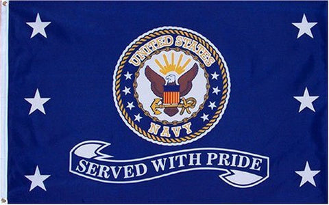 "Navy ""Served With Pride"" 3x5 Flag - 50% OFF WHILE SUPPLIES LAST! - Veteran Tees"