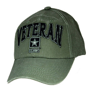 U.S. Army Star Hat / VETERAN - OD Green Baseball Cap 6491 - Veteran Tees
