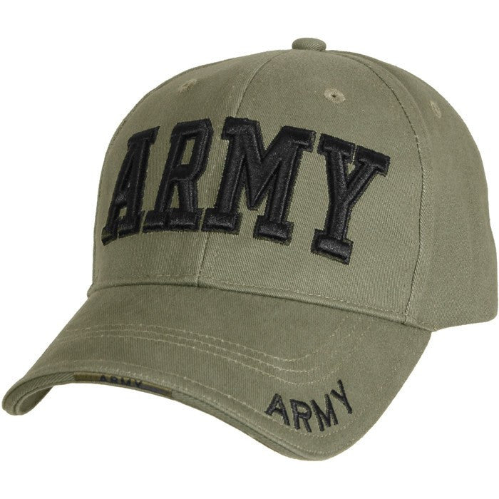 Olive Drab - ARMY Deluxe Adjustable Cap with Black Lettering - Veteran Tees