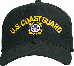 Black - US COAST GUARD Adjustable Cap with Emblem - Veteran Tees