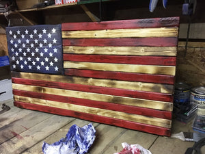 Hand Crafted Rustic Wooden American Flag