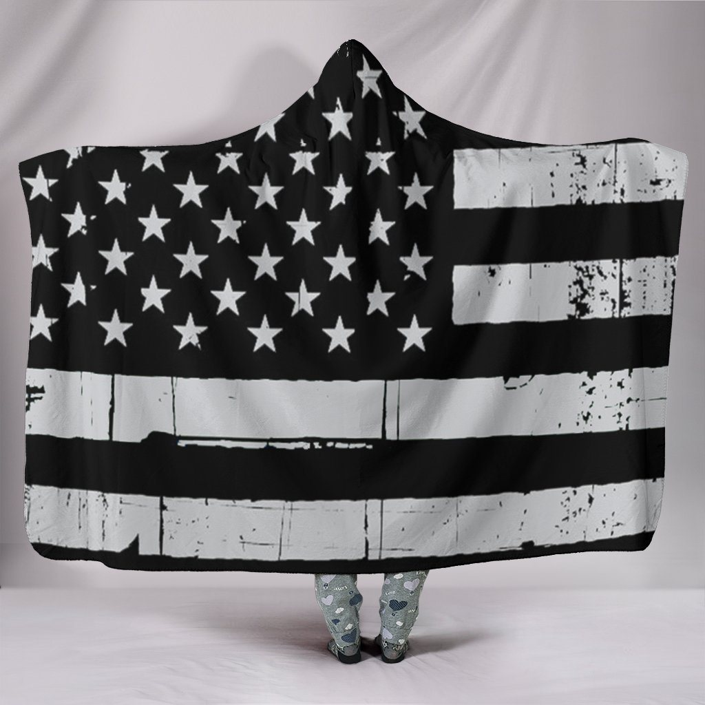 Limited Edition Black & White American Flag Hooded Blanket