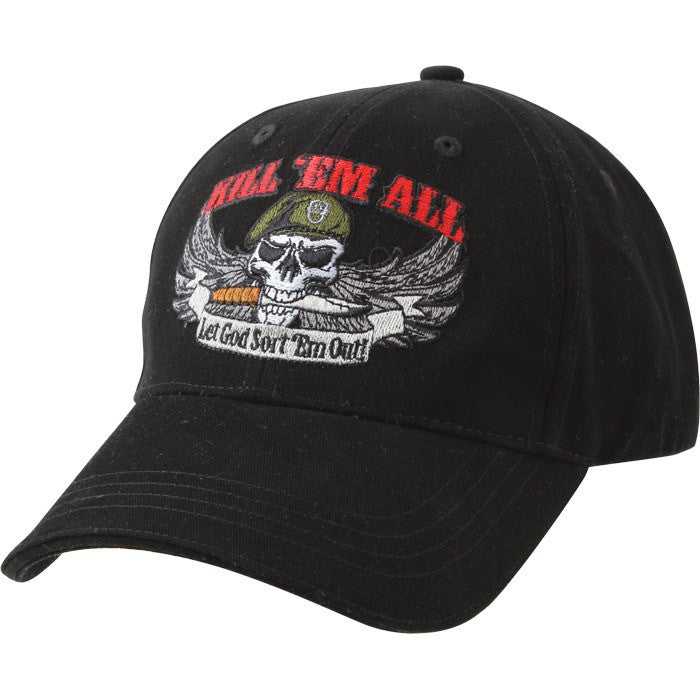 Black - KILL 'EM ALL Low Profile Deluxe Adjustable Cap - Veteran Tees