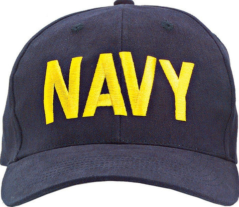 Navy Blue - NAVY Adjustable Cap with Gold Lettering - Veteran Tees