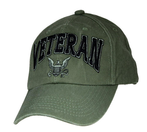 U.S. Navy Veteran Hat / USN OD Green Baseball Cap 6494 - Veteran Tees