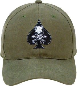 Olive Drab - Military Adjustable Cap with Army Death Spade Emblem - Veteran Tees