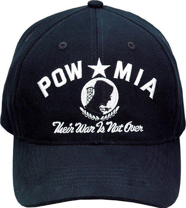 Black - POW MIA THEIR WAR IS NOT OVER Adjustable Cap - Veteran Tees