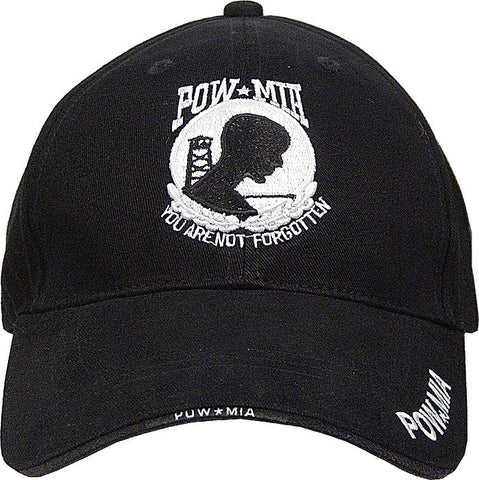 Black - POW MIA Deluxe Adjustable Cap - Veteran Tees
