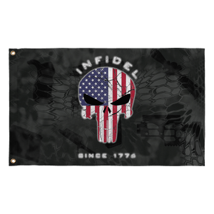 LIMITED EDITION 3x5 Exclusive American Flag Punisher Infidel Flag - 50% OFF WHILE SUPPLIES LAST! - Veteran Tees - 2