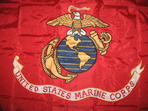 OFFICIALY LICENSED & MADE IN USA 3x5 Embroidered Sewn USMC Double Sided Flag W/ Gold Fringe - 50% OFF WHILE SUPPLIES LAST! - Veteran Tees - 2