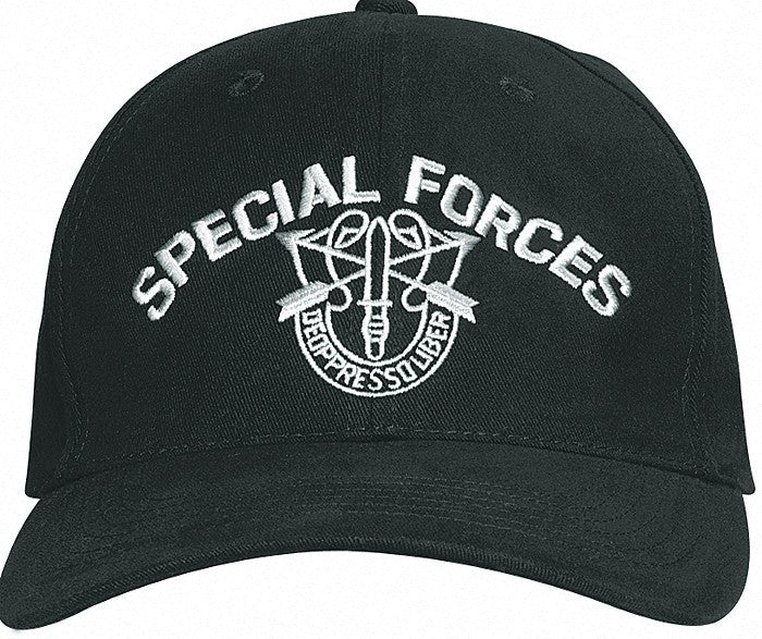 Black - SPECIAL FORCES Adjustable Cap with Special Forces Emblem - Veteran Tees