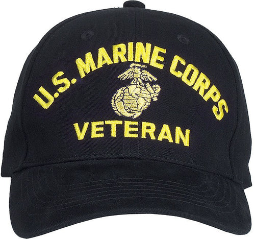 Black - US MARINE CORPS VETERAN Low Profile Deluxe Adjustable Cap - Veteran Tees
