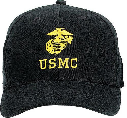 Black - USMC Adjustable Cap with Globe and Anchor Emblem - Veteran Tees