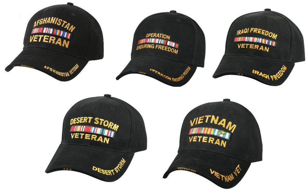 Deluxe Military Veterans Low Profile Hat Black Adjustable Cap - Veteran Tees - 1