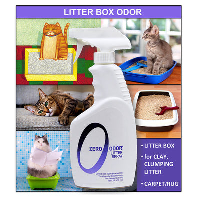Zero Odor® Litter Box Odor Eliminator, Trigger Spray, 16 ounces