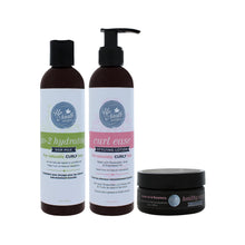 Load image into Gallery viewer, Front image of style me up bundle products including go-2 hydrating hair milk, curl ease styling lotion and healthy edges smoothing gel