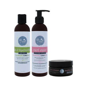 Front image of style me up bundle products including go-2 hydrating hair milk, curl ease styling lotion and healthy edges smoothing gel