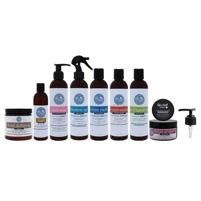 Front image of the bundle products including 8-oil defining gelly, 8-oil blend, curl ease styling lotion, freshen up hair mist, clean curls cleanser, tlc replenishing cleanser, go-2 hydrating hair milk, healthy edges smoothing gel, twist & curl butter and pump lid