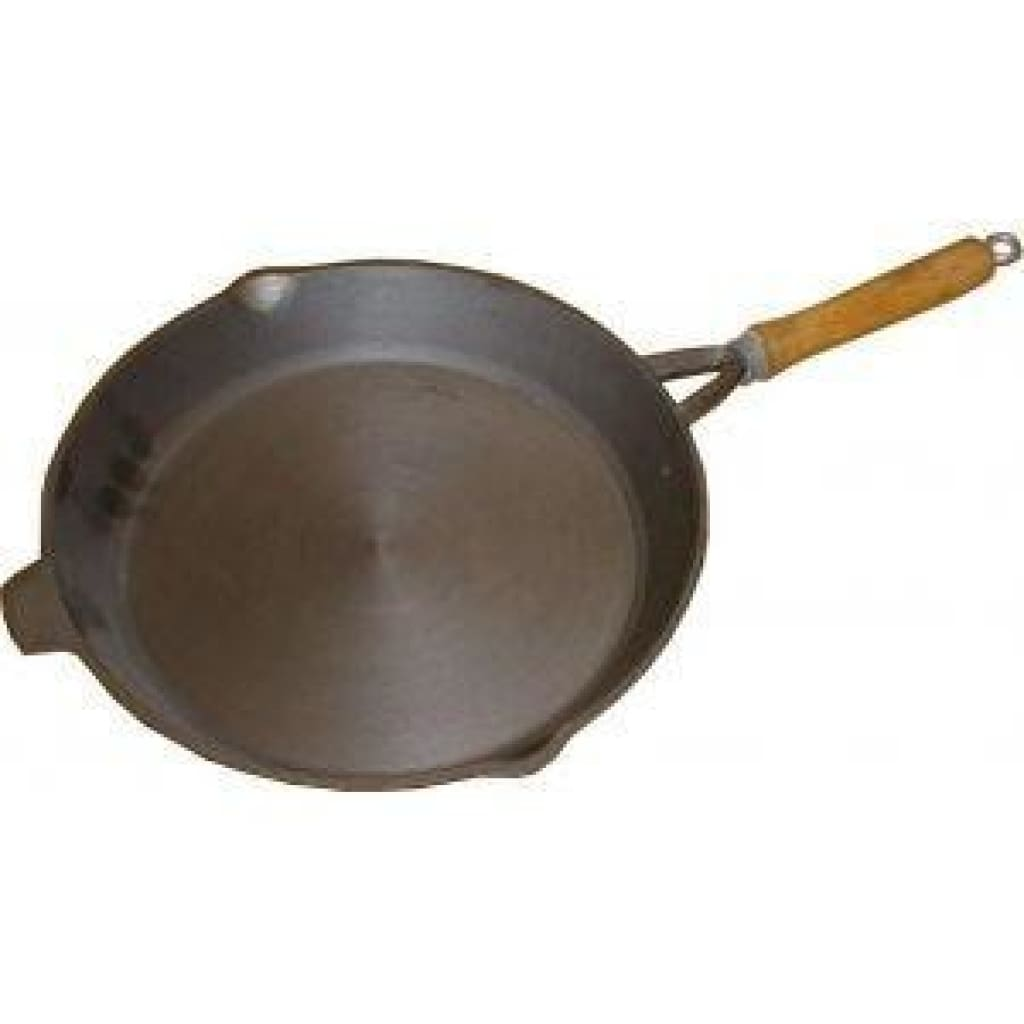 10.5 Inch Round Frypan - Wooden Handle Cooking / Kitchenware