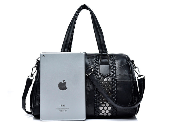 latest trend leather black patchwork handbag silver sequin tassel nz buy online