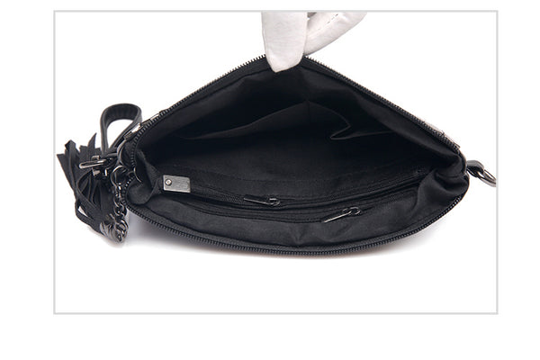 latest designer leather handbag clutch crossbody black punk style nz buy online