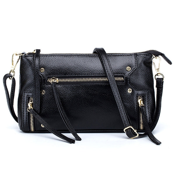 latest designer black leather crossbody nz buy online punk style