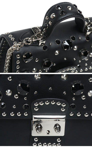 latest designer handbag trend leather mini bag crossbody rivets punk style