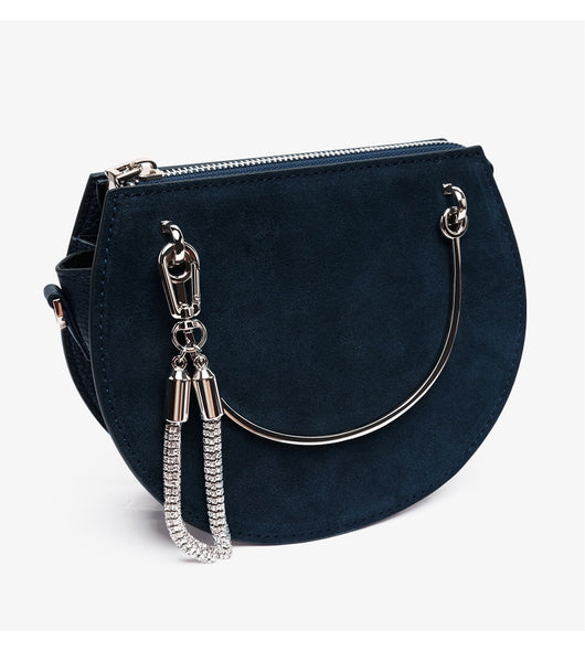 latest runway trend mini handbag navy circular metal handle nz buy online