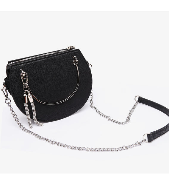 latest runway trend mini handbag black circular metal handle nz buy online