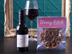 The Boozy Bitch Chocolate Pretzels & Red Wine Hamper