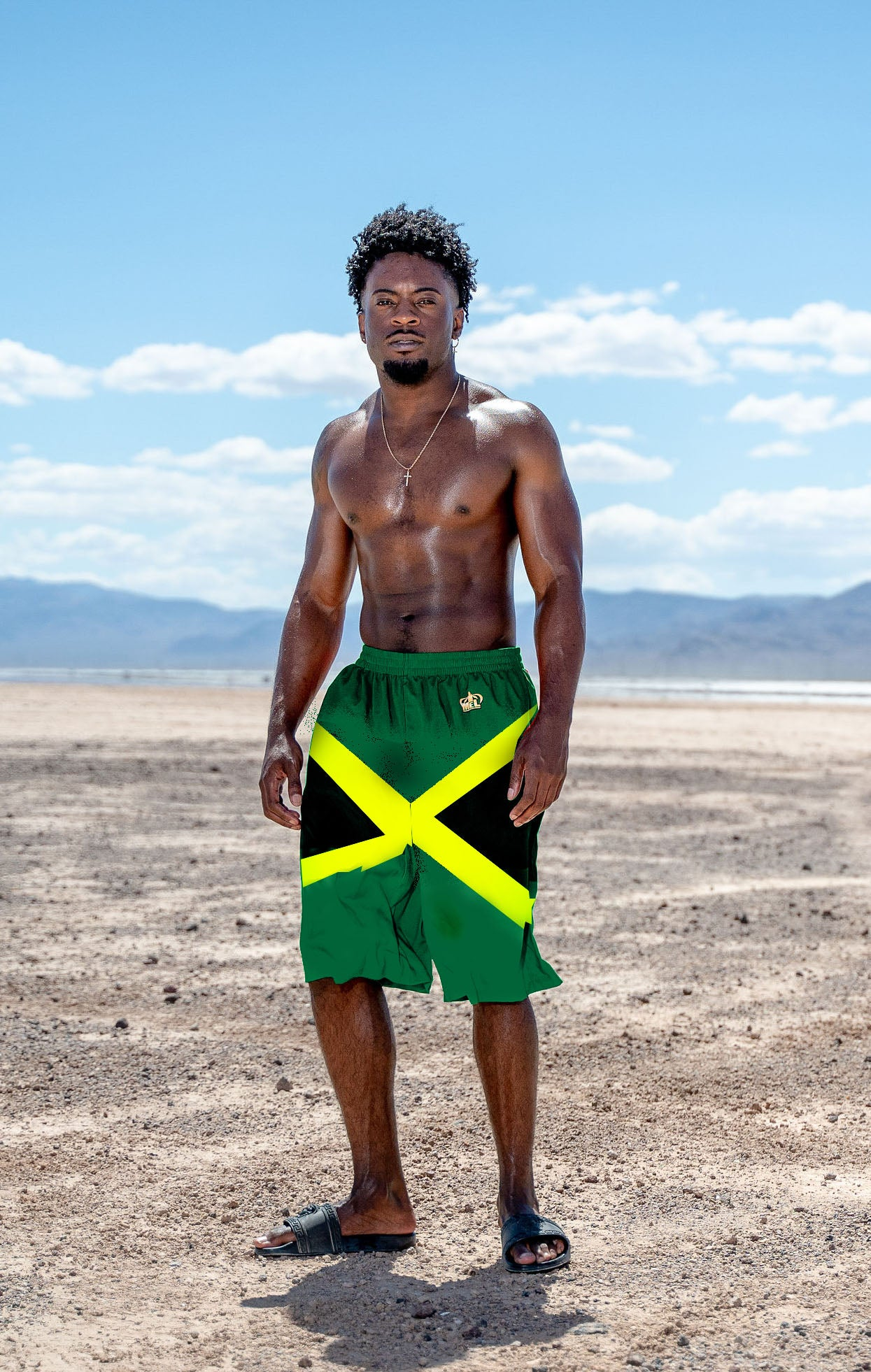 Jamaican flag Elastic Beach Shorts