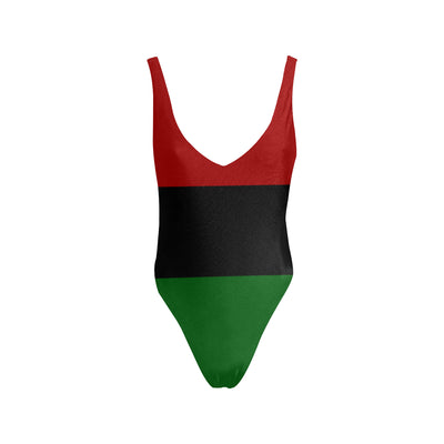 Red Black and Green Sexy Low Back One-Piece Swimsuit